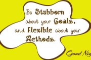 Be stubborn about your goal