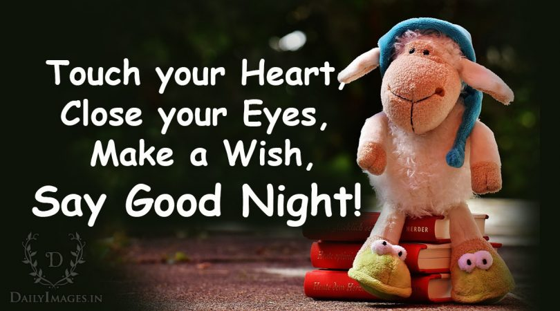 Touch your heart, Close your eyes, Make a wish, Say good Night