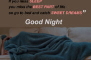 Dreams are the best part of life. If you miss sleep you miss the baest part of life so go to bed and catch sweet dreams