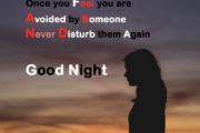 Once you Feel you are avoided by someone, Never Disturb them again, Good Night